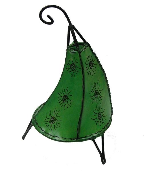 Orientalische Lampe Hennalampe marokkanische Lederlampe Tischleuchte Stehleuchte Henna Tissir Sonne 35-38 cm