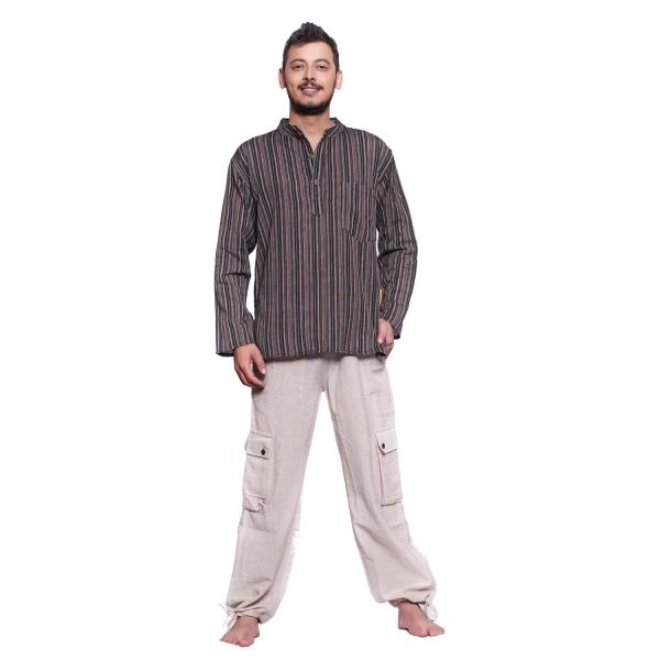 Simandra Fischerhemd mit Stehkragen I gestreifte Kurta I Freizeithemd mit Brusttasche + Seitentasche I Holzknöpfe + seitliche Schlitze