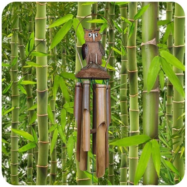 Windspiel Klangspiel Bambus Klang Deko Klangröhren Entspannung Garten Türglocke Kokosnuss Eule