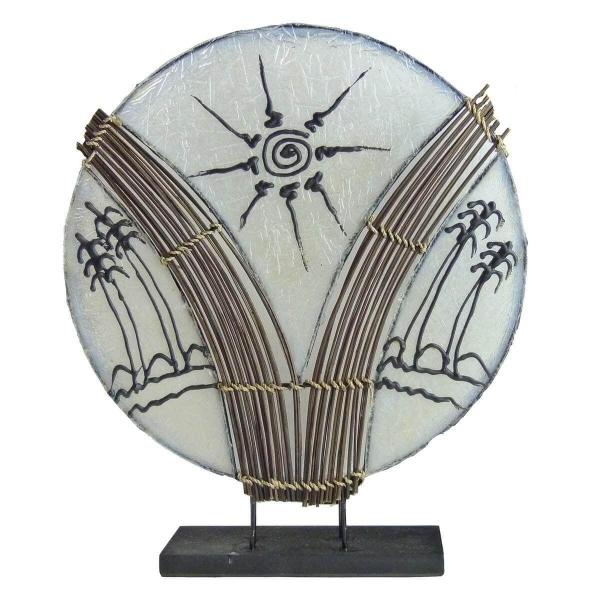 Deko-Leuchte Stimmungsleuchte asiatische Lampe Stehleuchte Tischleuchte Tischlampe Bali Asia PALME groß 46 cm