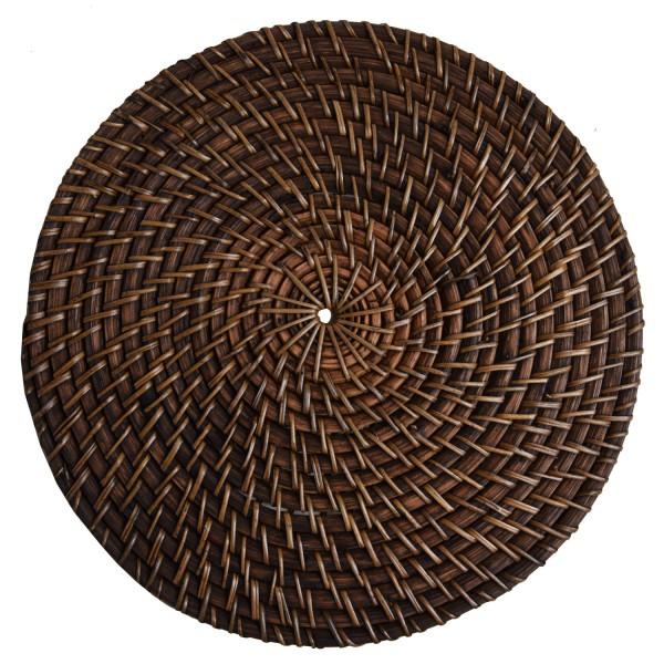 Untersetzer Platzdeckchen aus Rattan, Tisch-Sets rund dekorative Deko Natur Handarbeit braun