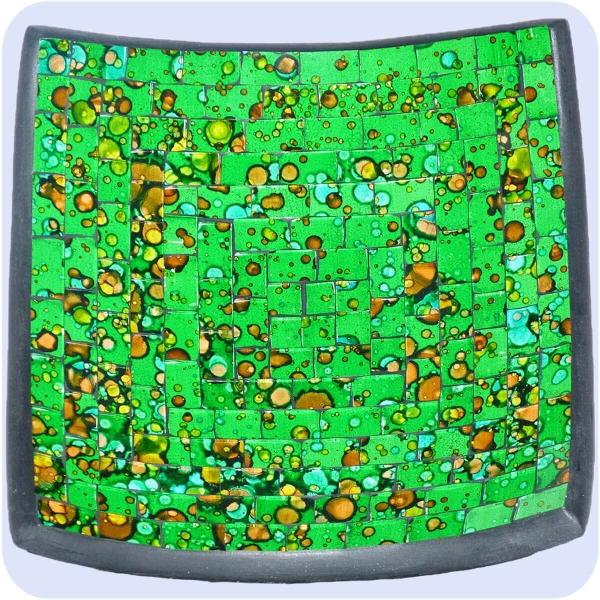 Mosaikschale Tonschale Glasschale Dekoschale Mosaik Kunsthandwerk Glassteine Deko Quadrat bunt mittel