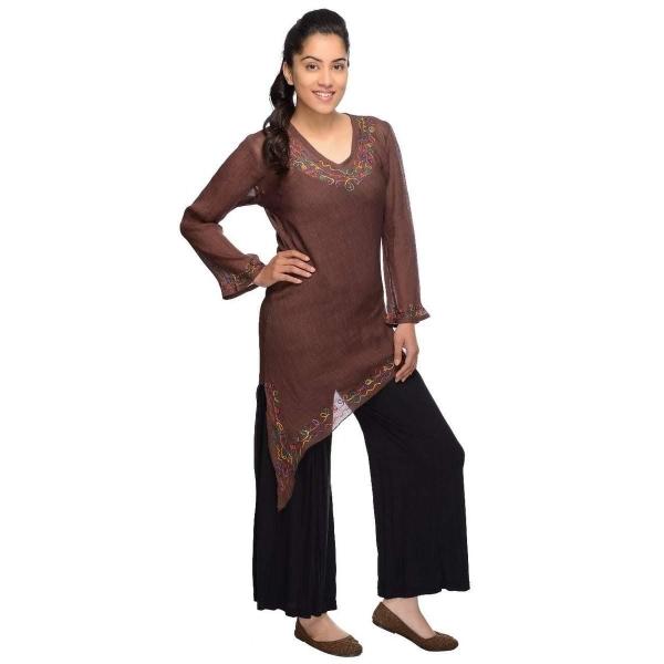 Langarm Bluse Oberteil Longshirt Kleid Shirt Träger Tank Schluppenbluse Hippie Tunika Rajani