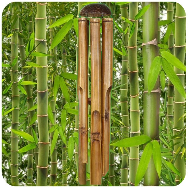 Windspiel Klang-Spiel Bambus Deko Mobile Klangröhren Entspannung Garten Türglocke Feng Shui 100 cm