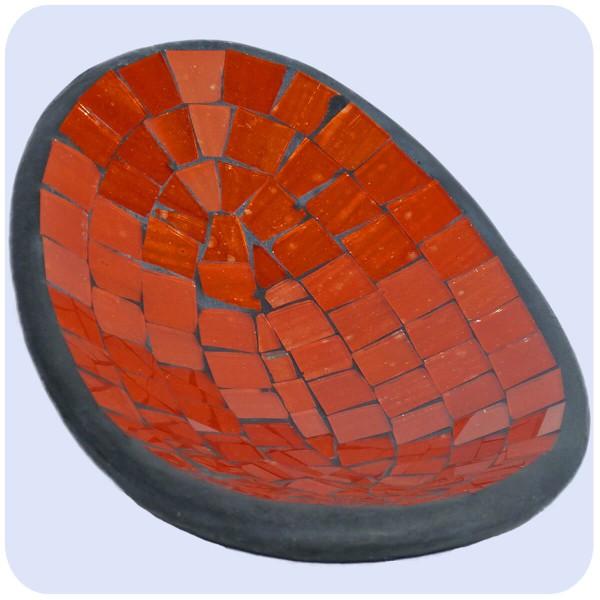 Mosaikschale Tonschale Glasschale Dekoschale Mosaik Kunsthandwerk Glassteine Deko oval klein
