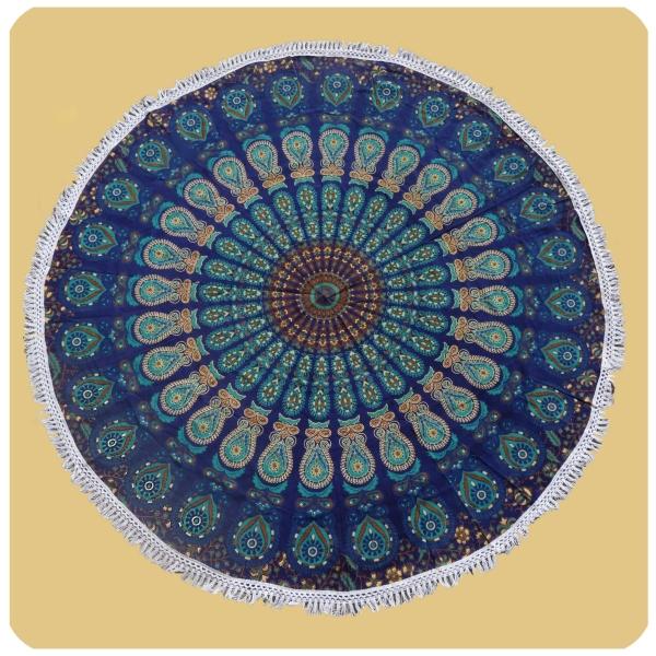 Wandtuch rund Mandala indischer Wandbehang Tischdecke Tuch 3