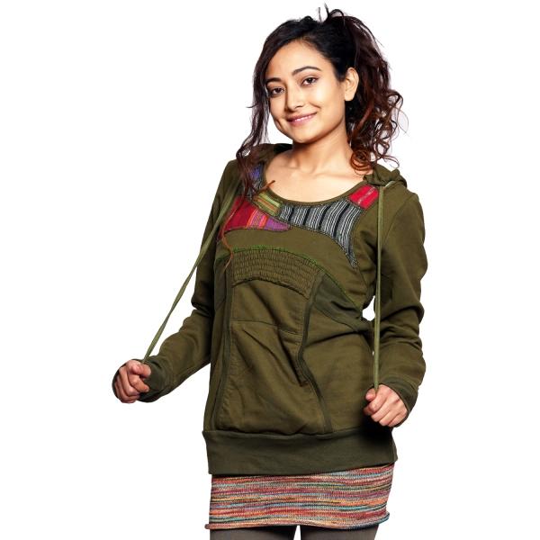 Hoodie für Damen I Kapuzen-Pullover aus Baumwolle I mit Patchworkeffekten & Kängurutasche I Simandra