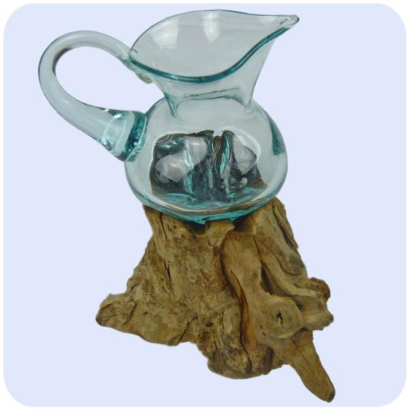 Wurzelholz Glas-Vase Wurzel-Vase Deko-Glas Holz Geschenk Unikat Objekt Design Blumenvase Krug
