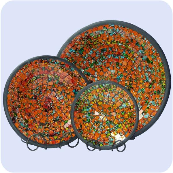 Mosaikschale 3-Set Tonschale Glasschale Dekoschale Mosaik Kunsthandwerk Glassteine Deko rund bunt groß