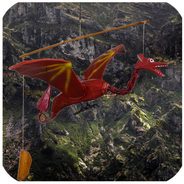 Windspiel Mobile Fantasy Mittelalter Drache rot