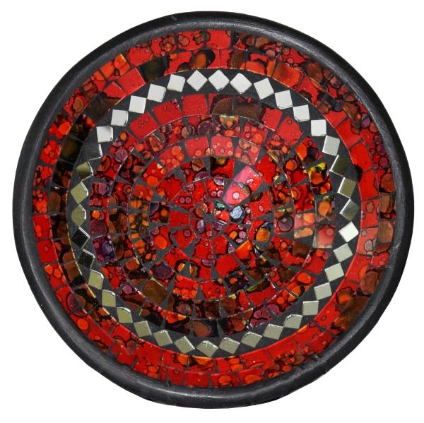 Mosaikschale Tonschale Glasschale Dekoschale Mosaik Kunsthandwerk Glassteine Deko rund Spiegel L