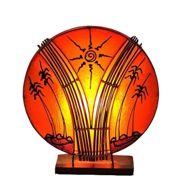 Deko-Leuchte Stimmungsleuchte asiatische Lampe Stehleuchte Tischleuchte Tischlampe Bali Asia PALME klein 36 cm