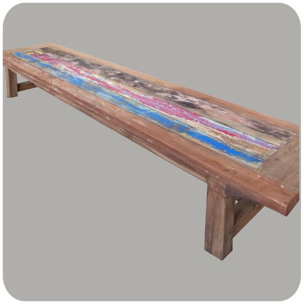 Sitzbank aus Teak-Altholz I massive Holzbank mit bunten Teak-Brettern I Handarbeit aus Java I Simandra