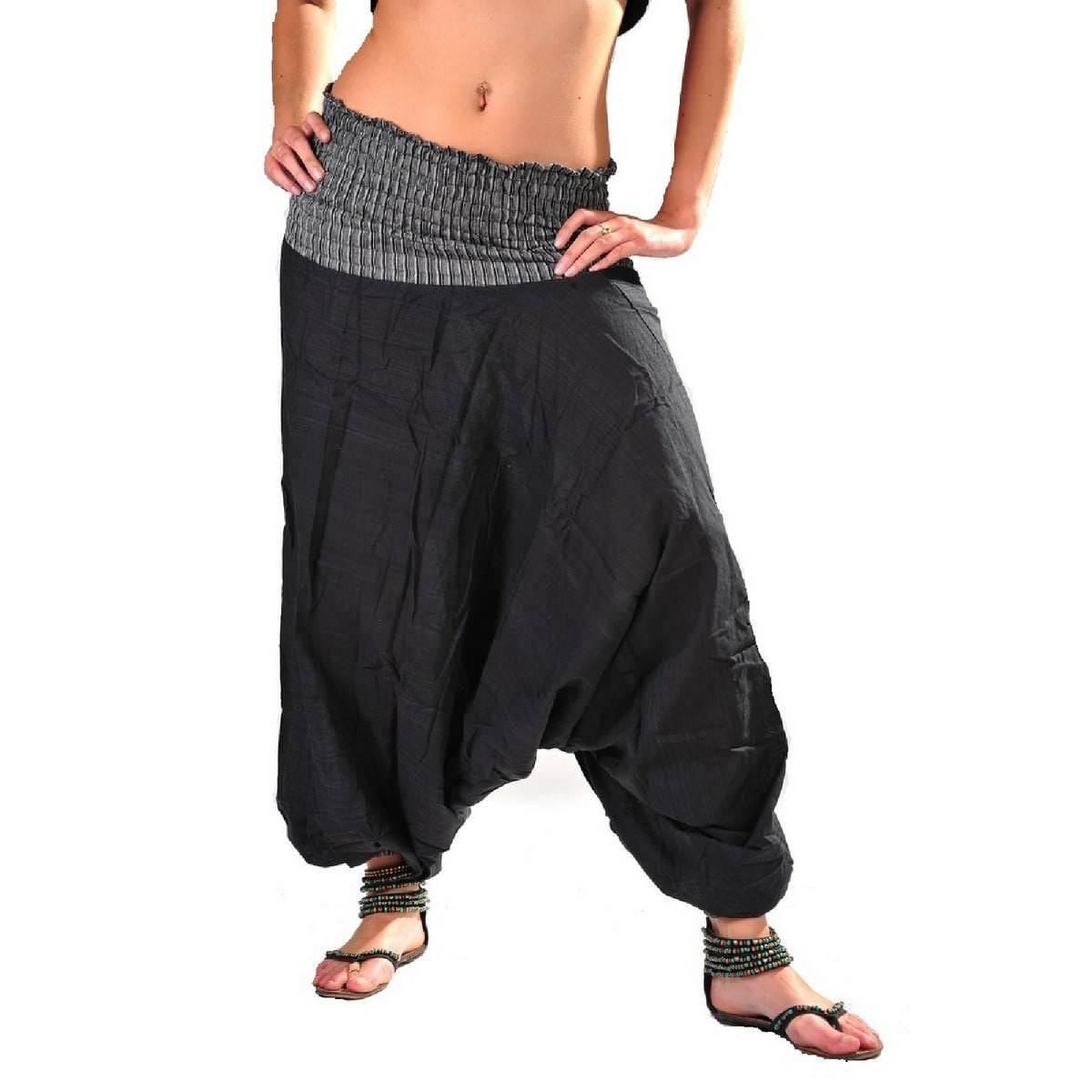 Sarouel Hose GOA Aladin Haremshose HIPPIE Psy BOHO Yoga Pluderhose Taschen GRÜN
