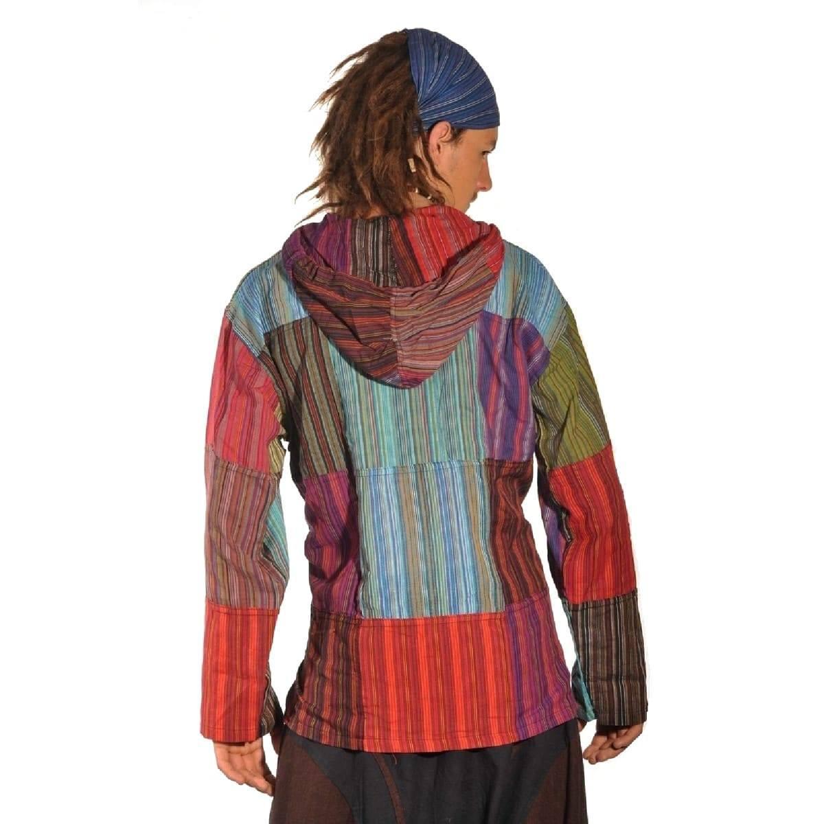 Patchwork Kapuze Hemd Pullover Shirt Fischerhemd Freizeit Hippie Kurt