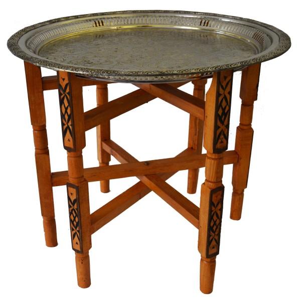 Marokkanischer Tisch Beistelltisch Teetisch orientalisch mit Silbertablett -mittel-