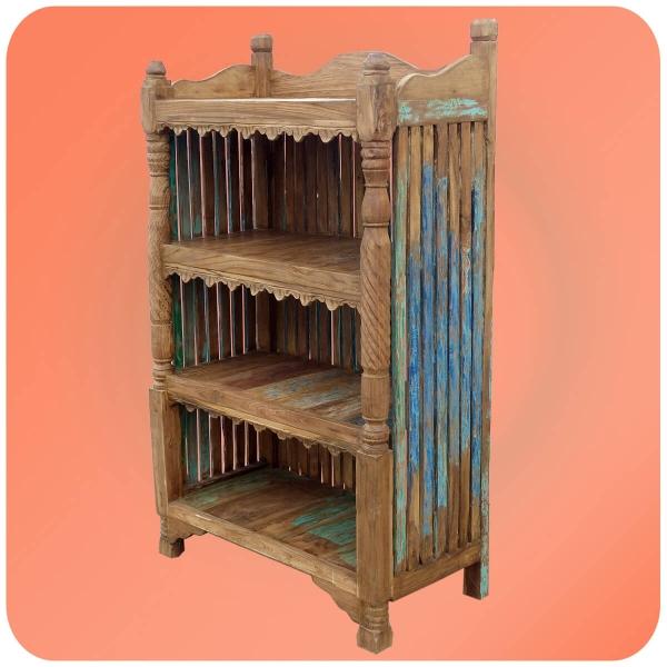 Altholz Regal Sulawesi Vintage Massiv Teakholz Möbel mit 4 Ablageflächen Handarbeit Unikate Antik 2