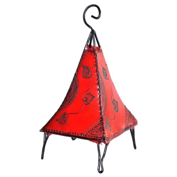 Orientalische Lampe Hennalampe marokkanische Lederlampe Tischleuchte Stehleuchte Pyramide Ranke 35-38 cm