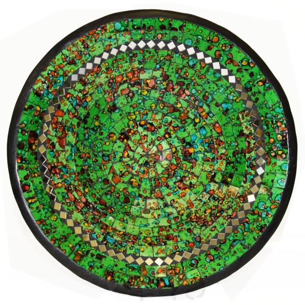 Mosaikschale Tonschale Glasschale Dekoschale Mosaik Kunsthandwerk Glassteine Deko rund Spiegel XXL