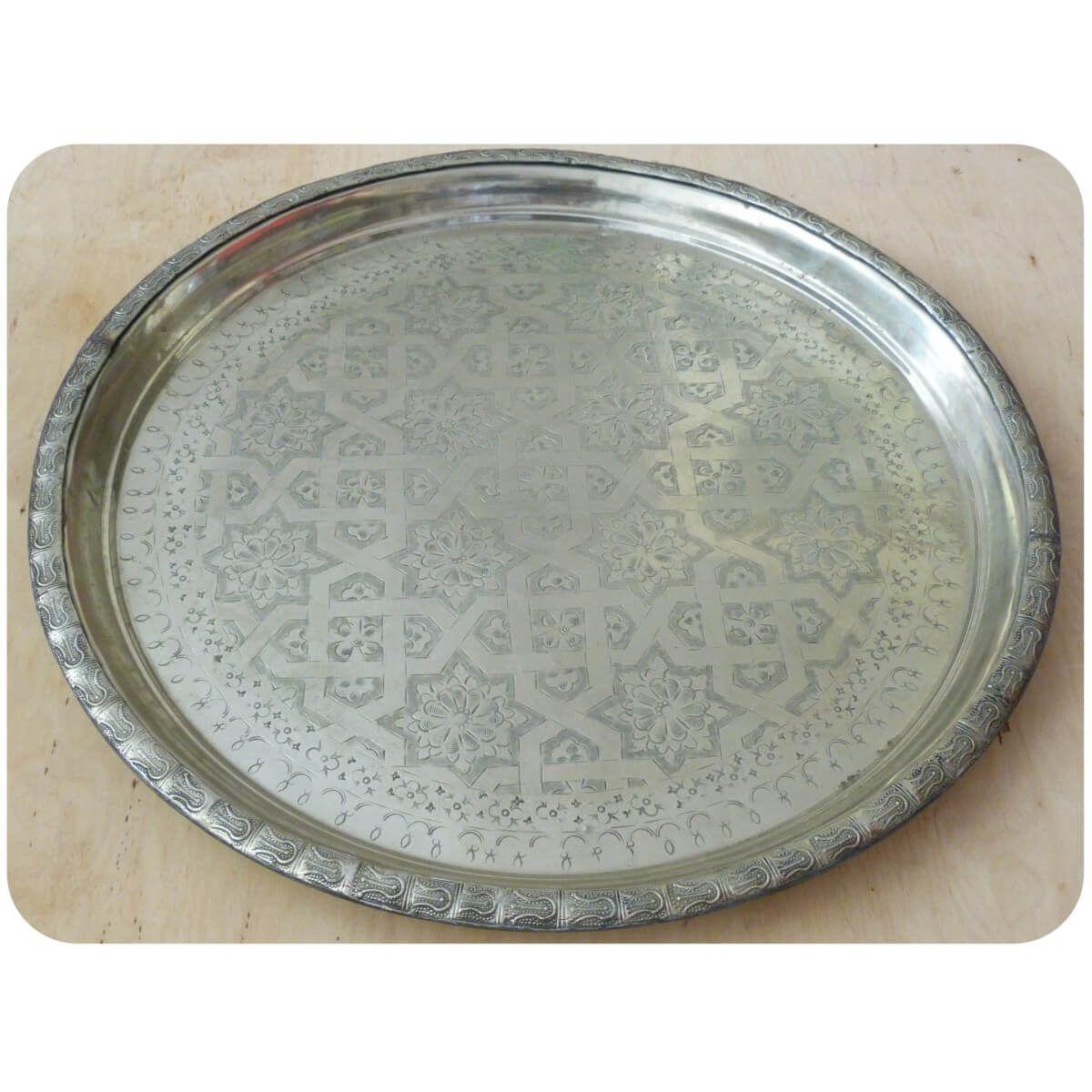 orientalisches marokkanisches tablett serviertablett tee silber unikat 58cm ebay. Black Bedroom Furniture Sets. Home Design Ideas