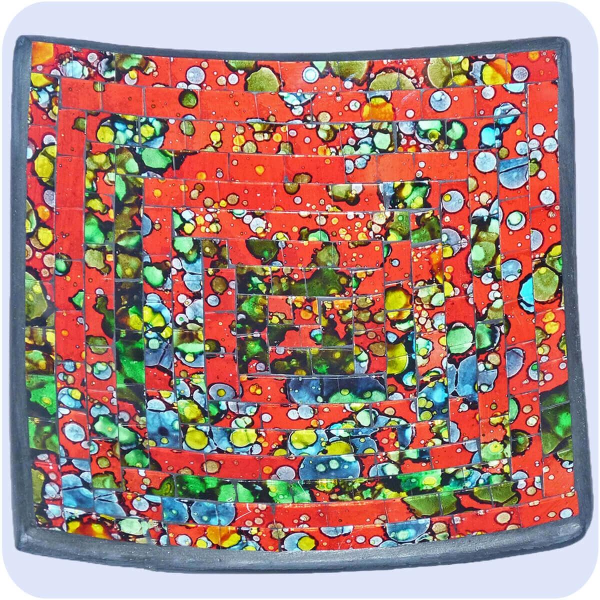 Cuenco De Mosaico Arcilla Taz N Vidrio Bol Arte Decoraci N