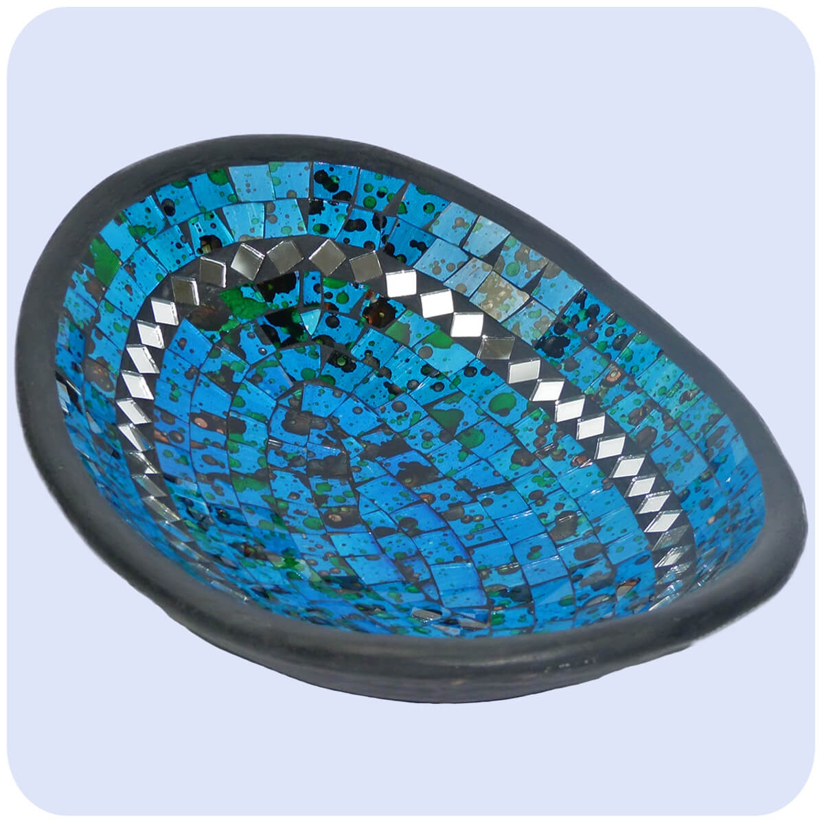 mosaikschale tonschale glasschale dekoschale mosaik kunst deko oval spiegel gro ebay. Black Bedroom Furniture Sets. Home Design Ideas