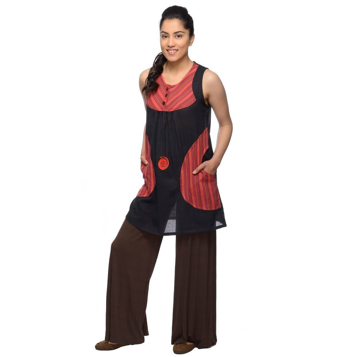 Ärmellos Bluse Oberteil Kleid Top lang Träger Tank Shirt Hippie Goa Boho Tunika