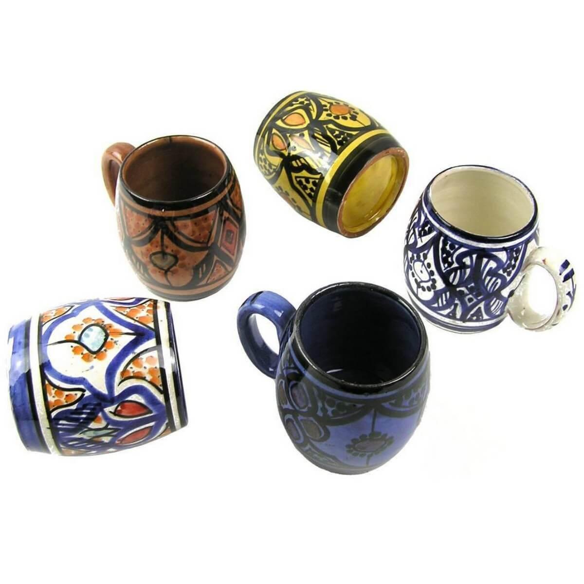 becher keramik tasse marokkanische bemalung accessoires