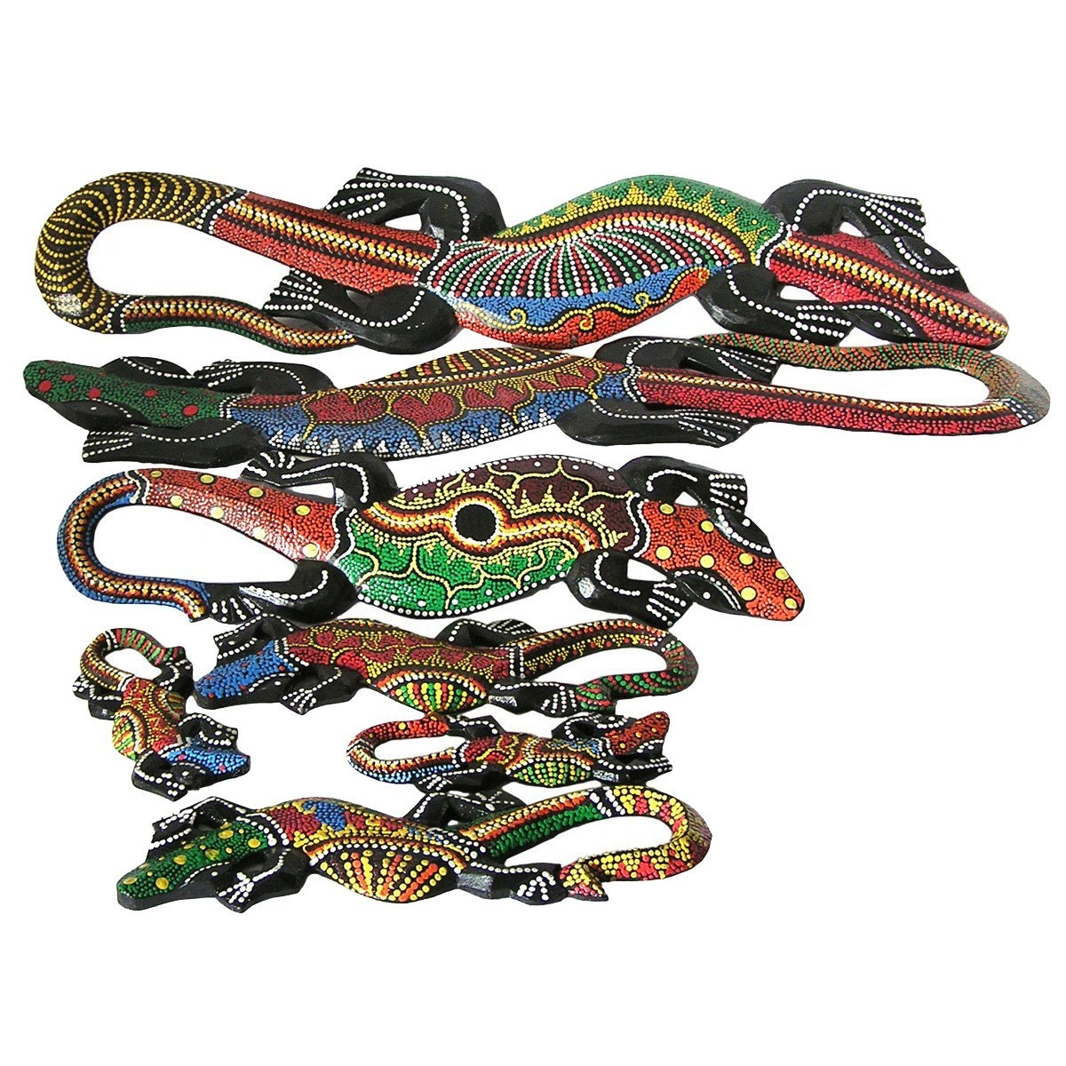 gecko echse deko figur wanddeko holzfigur wandfigur afrika asia salamander ebay. Black Bedroom Furniture Sets. Home Design Ideas