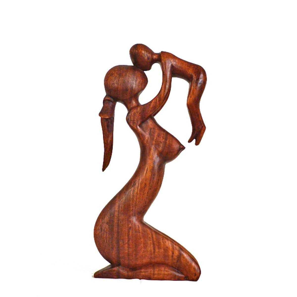 holz figur skulptur abstrakt holzfigur statue afrika asia handarbeit deko mutter. Black Bedroom Furniture Sets. Home Design Ideas