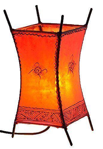 Orientalische marokkanische stehlampe leder lampe hennalampe lederleuchte carres ebay for Marokkanische tischlampe