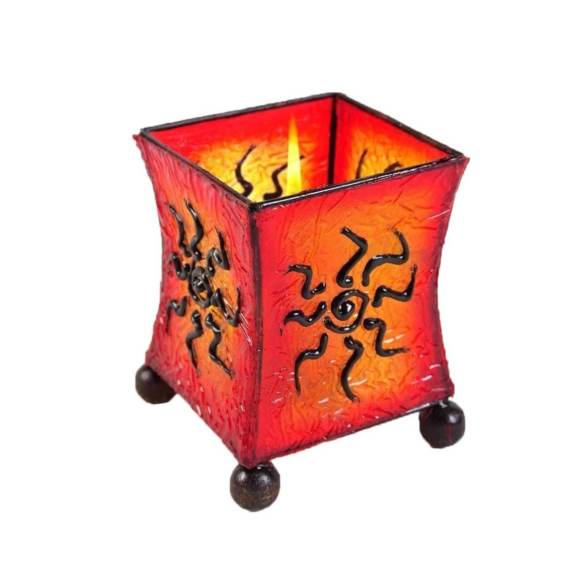 Windlicht teelicht teelichthalter kerzenhalter deko resin for Deko lampen bali