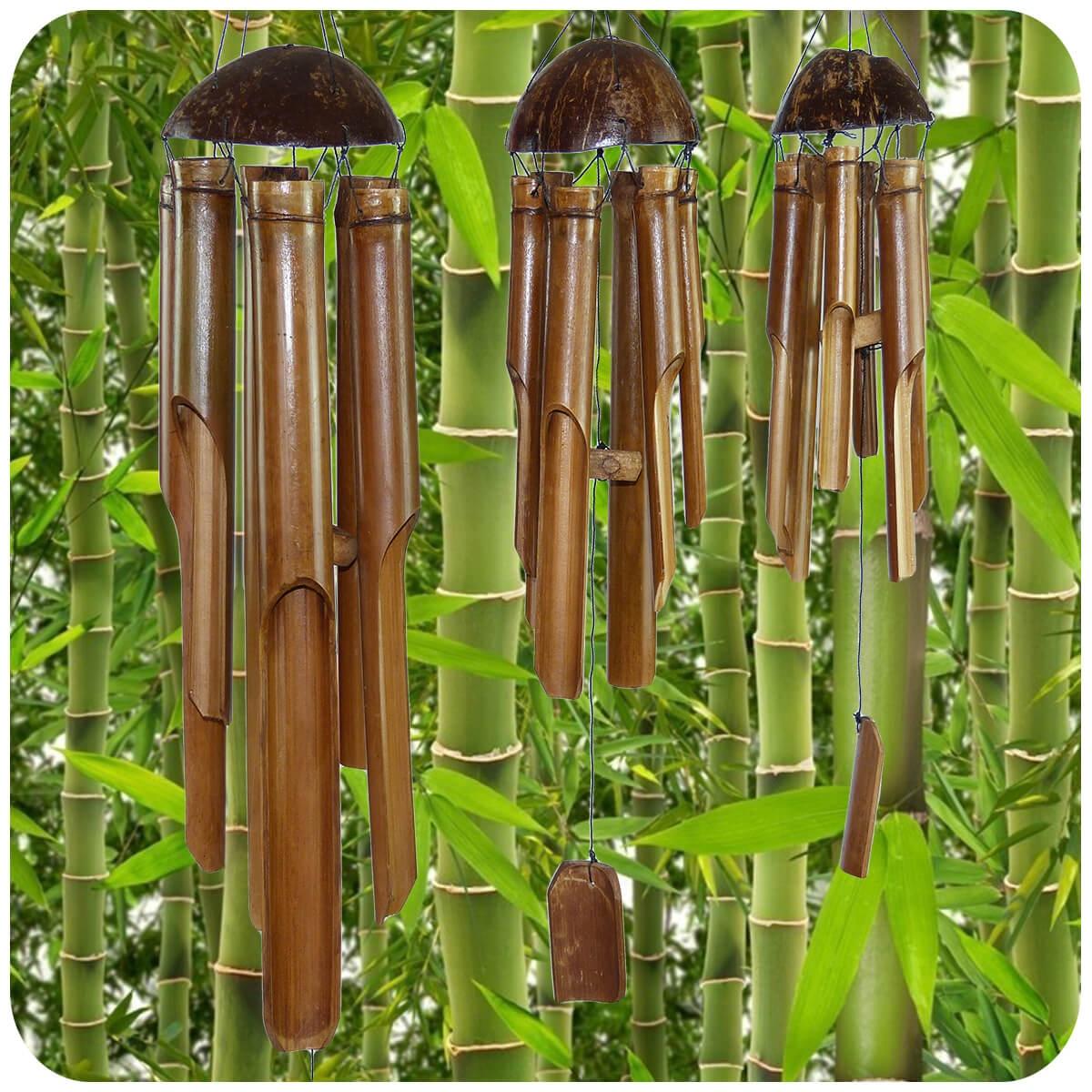 Windspiel klang spiel bambus holz deko mobile klangr hren for Garten bambus
