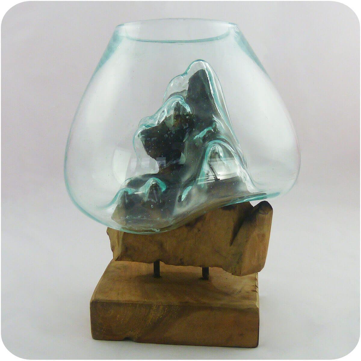 Wurzelholz Glas Vase Teakholz Glasvase Wurzel Holz